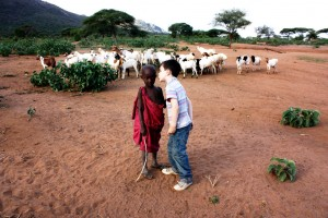 Child with Masai Boy and Goats
